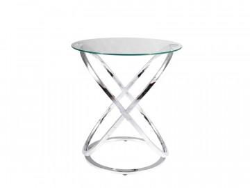 Masuta de cafea rotunda din sticla 56 cm argintie