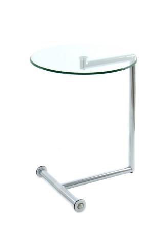 Masuta de cafea rotunda din sticla Luciana 46x46x62 cm transparenta/argintiu