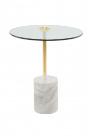 Masuta de cafea rotunda din sticla si marmura Rosario 44x44x50 cm transparenta/alb/auriu
