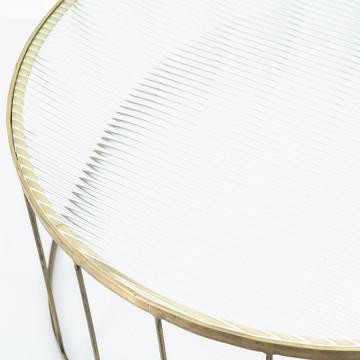 Masuta de cafea rotunda din sticla si metal Caesar 80x80x35 cm aurie