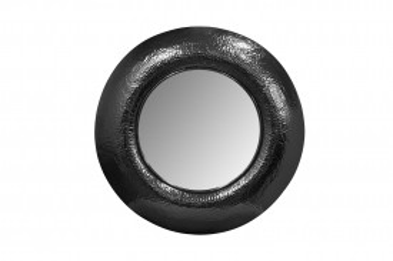 Oglindă rotunda cu rama din fier neagra Duke 75x75x9 cm