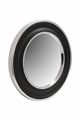 Oglindă rotunda cu rama din fier si MDF negru/argintiu 4x45x45 cm