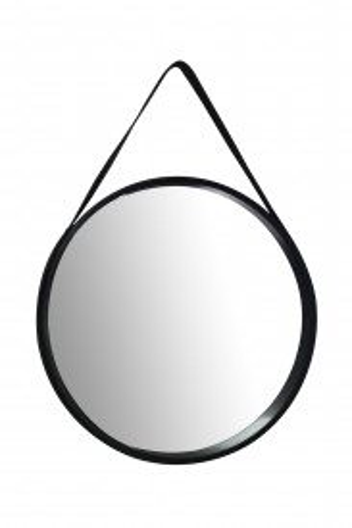 Oglinda rotunda cu rama din MDF neagra Ultima, 3,5-7,5cm (L / D) x 49,5cm (W) x 49,5cm (H)