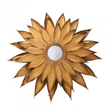 Oglinda rotunda cu rama din metal aurie Metal Lidia, 6cm (L / D) x 87cm (L) x 87cm (H)