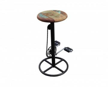 Scaun de bar rotativ în stil bicicletă din lemn This & That multicolor