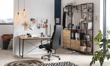 Scaun de birou rotativ din imitatie de piele negru