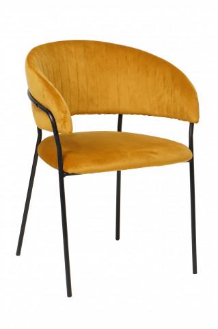 Scaun din catifea cu spătar matlasat galben