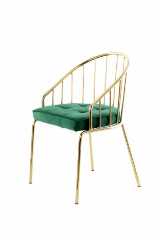 Scaun din metal si catifea Palma verde / auriu