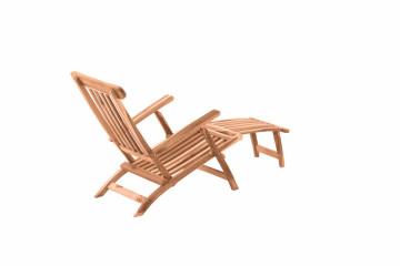 Scaun pentru gradina din lemn de tec pliabil cu suport pentru picioare detasabil maro