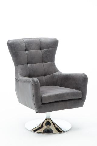 Scaun rotativ din piele artificiala Sit&Chairs gri