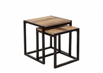 Set 2 masute de cafea patrate din lemn de pin 45x45x50/39x40,5x43,5 cm