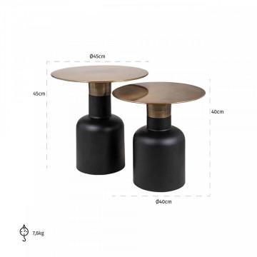 Set 2 masute de cafea rotunde din metal Rixo 45x45x45 cm negru/maro