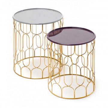Set 2 masute de cafea rotunde din metal Timba 38x43x38 cm gri/mov/auriu