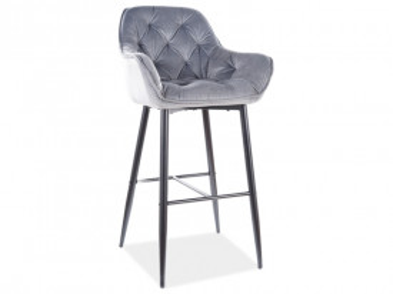 Set 2 scaune de bar din catifea Cherry gri 76 x 56 x 40 cm