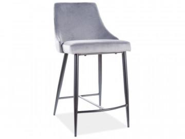 Set 2 scaune de bar din catifea Piano gri