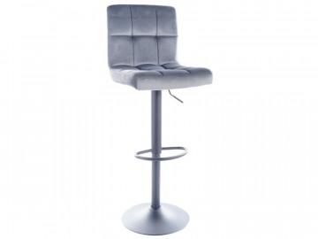 Set 2 scaune de bar din catifea reglabile 65-88 cm gri