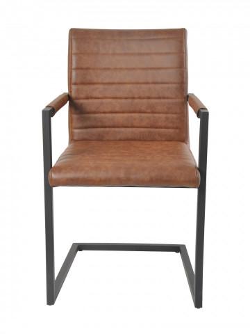 Set 2 scaune din piele artificiala maro deschis