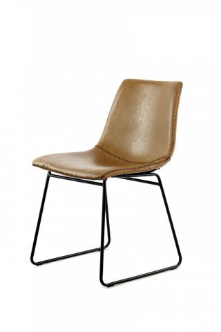 Set 2 scaune piele artificiala Caila maro deschis
