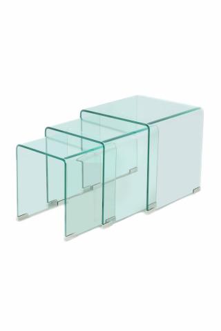 Set 3 masute de cafea dreptunghiulare din sticla East 30x36x42 cm transparente