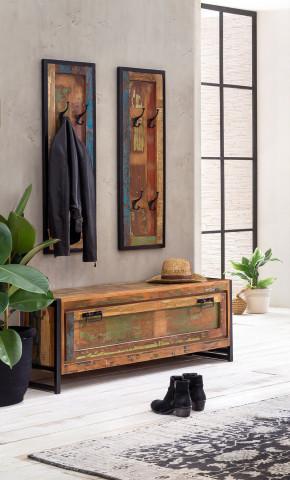 Set 3 piese mobilier pentru hol din lemn reciclat Bali