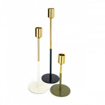 Set 3 suporturi lumanare din metal Saga, auriu alb/verde/gri