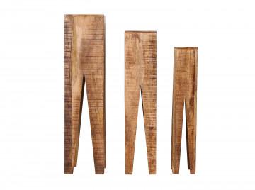 Set 3 suporturi pentru plante din lemn de mango