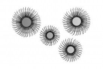Set 4 oglinzi rotunde cu rama din fier Duke, negru