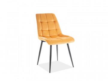 Set 4 scaune din catifea Chic galben/negru