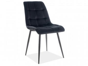 Set 4 scaune din catifea Chic negru mat