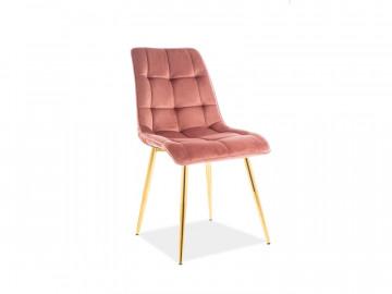 Set 4 scaune din catifea Chic roz / auriu