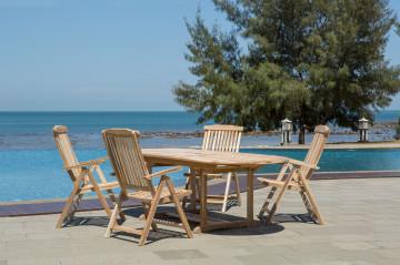 Set masa cu 4 scaune pentru gradina din lemn de tec maro