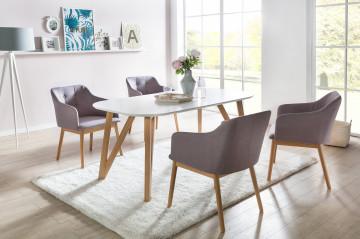 Set masa ovala din lemn alba cu 4 scaune tapitate gri deschis 180x90 cm