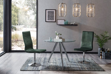 Set masa rotunda cu blat din sticla si 4 scaune din catifea verzi 100 cm