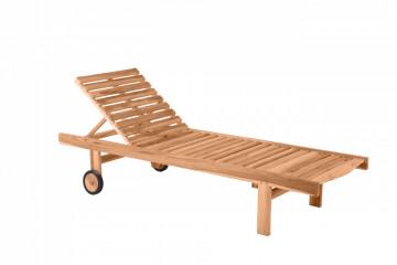 Sezlong pentru gradina din lemn de tec reglabil cu roti maro