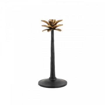 Suport lumanare palmier din metal Amora, negru/gold