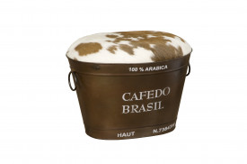 Taburet din piele de vaca sub forma de galeata Cafedo Brasil maro/alb