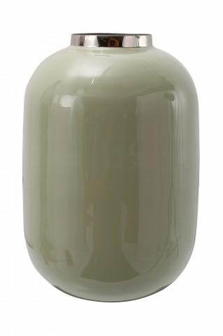 Vaza din fier Art Deco, verde / argintiu 16x16x25 cm