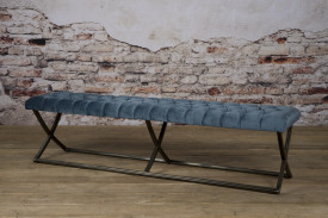 Bancheta Bolton din catifea/genova blue