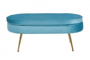 Bancheta ovala din catifea albastra