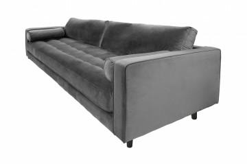 Canapea din catifea Miller, 3 locuri, gri 100x225x84 cm