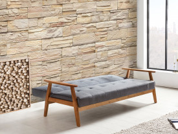 Canapea extensibila din lemn masiv, gri, 3 locuri