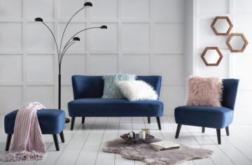 Canapea simpla din catifea albastra, 2 locuri