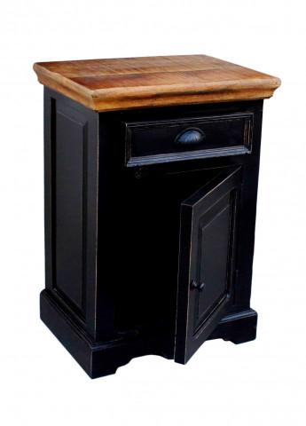 Comoda cu sertar din lemn de mango Corsica, negru, 72 cm