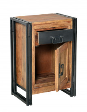 Comoda cu sertar din lemn de salcam Panama, natural/negru antic, 50 cm