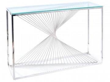 Consola din sticla cu cadru din metal argintiu Flame 120 x 78 x 40 cm