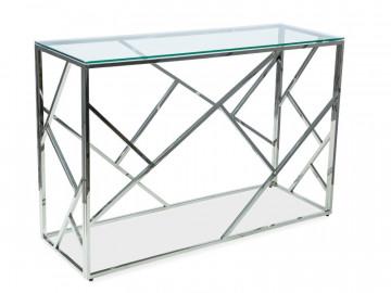 Consola din sticla cu cadru metalic argintiu Escada 120 x 40 cm