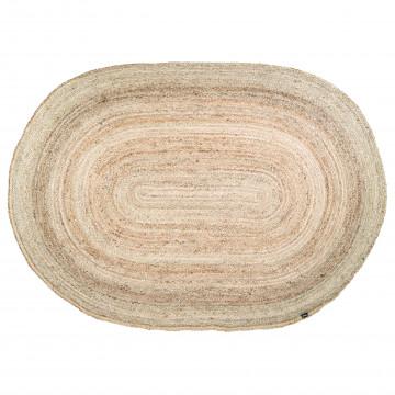 Covor oval din iuta 200x300 cm natural