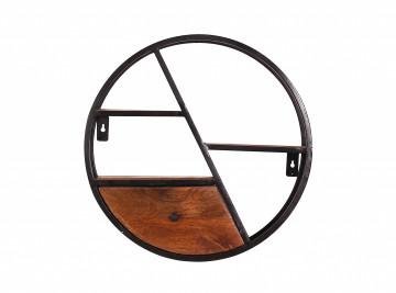 Etajera rotunda din lemn de mango si fier Panama 50 x 13 cm
