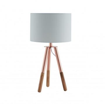 Lampa de birou din lemn/tesatura 55 cm cupru/alb