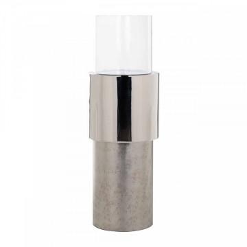 Lampa decorativa din aluminiu/sticla Orvyn argintie mica, un bec